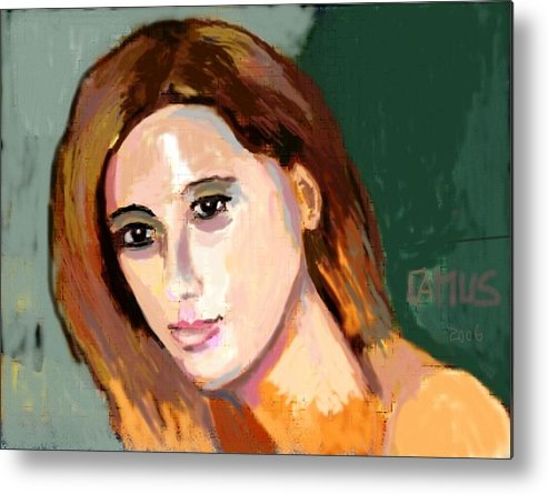 Art Metal Print featuring the painting Retrato Patricia by Carlos Camus