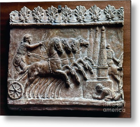 2nd Century Metal Print featuring the photograph Roman Relief: Chariot Race by Granger