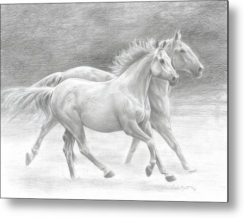 Horses Metal Print featuring the drawing Running Free by Carla Kurt