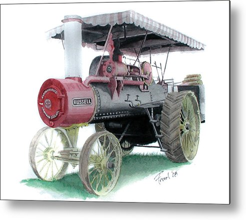 Tractor Metal Print featuring the painting Russell Steam Tractor by Ferrel Cordle