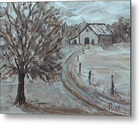 Landscape Metal Print featuring the painting Rustic Road by Pete Maier