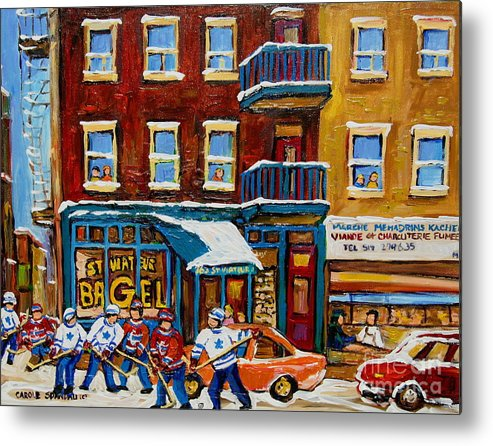 Montreal Metal Print featuring the painting Saint Viateur Bagel With Hockey by Carole Spandau