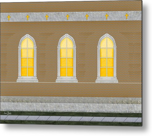 Church Metal Print featuring the painting Sanctuary Windows And Walls by Anne Norskog