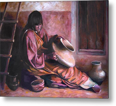 Native American Metal Print featuring the painting Santa Clara Potter by Nancy Griswold