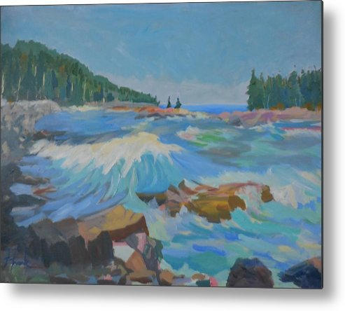 Landscape Metal Print featuring the painting Schoodic Inlet by Francine Frank