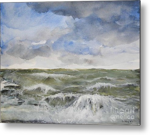 Seascape. Coast Metal Print featuring the painting Sea Storm by Sibby S