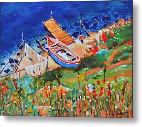 Seascape Metal Print featuring the painting Seacoast by Iliyan Bozhanov
