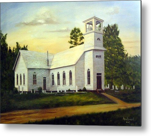 Church Metal Print featuring the painting Seaford Zion Methodist Church by Anne Kushnick
