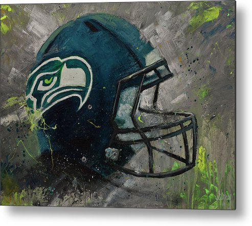 Seattle Seahawks Football Helmet Wall Art Metal Print