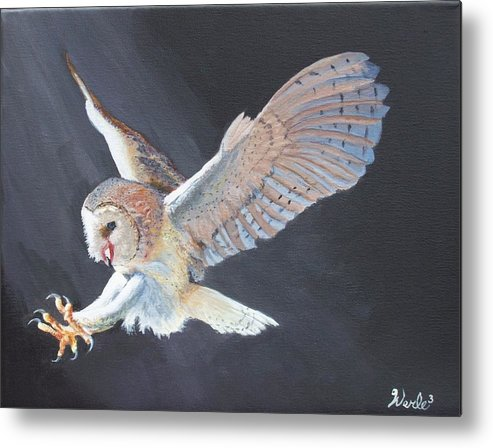 Owl Metal Print featuring the painting Second Look by Bill Werle