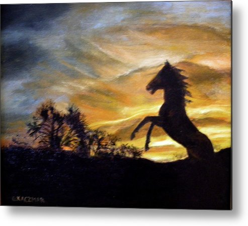 Sunset Metal Print featuring the painting Sentry On Duty by Olga Kaczmar