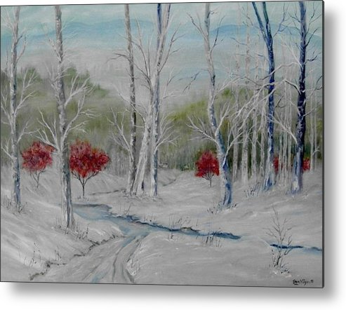 Snow; Winter; Birch Trees Metal Print featuring the painting Silence by Ben Kiger