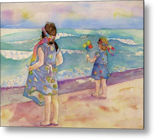 Sisters Metal Print featuring the painting Sisters By The Sea by Anne McMath