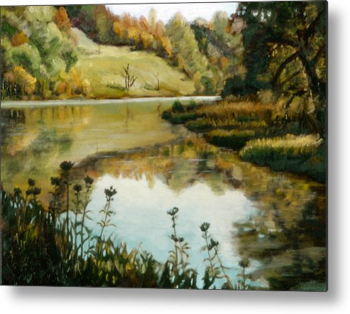 Six Mile Creek Metal Print featuring the painting Six Mile Creek Ithaca by John Clum