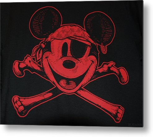 Walt Disney World Metal Print featuring the photograph Skull And Bones Mickey In Red by Rob Hans
