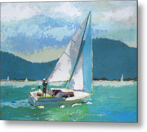 Boat Metal Print featuring the painting Smooth Sailing by Robert Bissett