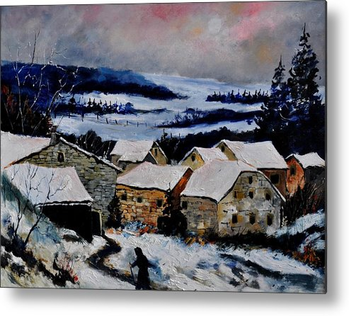 Landscape Metal Print featuring the painting Snow In Ardennes 79 by Pol Ledent