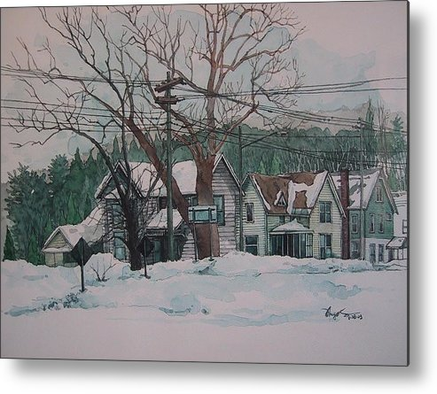 Landscape Metal Print featuring the painting Snow Next Door by Richard Ong