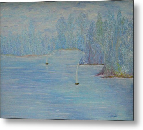 Blue Metal Print featuring the painting So Cool by Cary Singewald