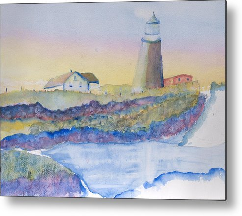 Sea Scape A Light House Metal Print featuring the painting Soft Blue And A Light House by MaryBeth Minton