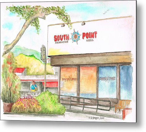 South Point Restaurante Metal Print featuring the painting South Point Restaurant, West Hollywood, California by Carlos G Groppa