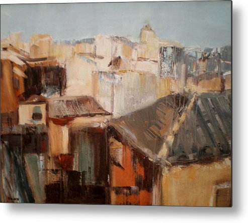Urban Landscape Metal Print featuring the painting Spanish Rooftops by Renee Rowe