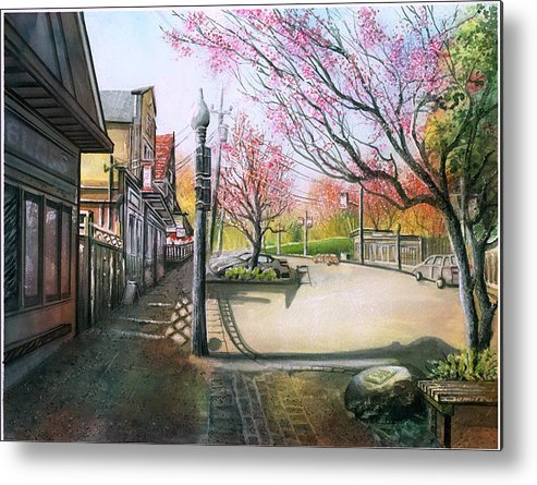Landscape Metal Print featuring the painting Spring On Clarke Street Port Moody by Dumitru Barliga