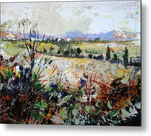 Landscape Metal Print featuring the painting Spring Rain by Dale Witherow