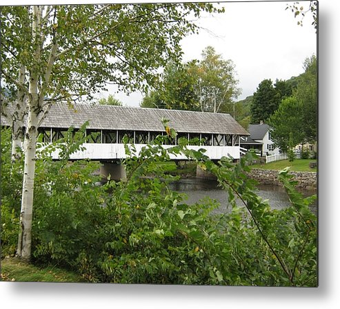 Nh Metal Print featuring the photograph Stark Covered Bridge by Wayne Toutaint