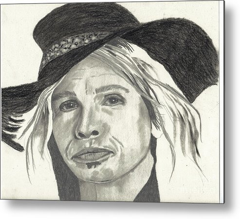 Stephen Metal Print featuring the drawing Stephen In Half Mode by DebiJeen Pencils