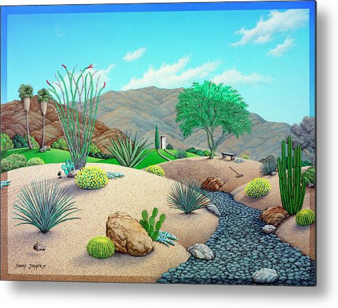Landscape Metal Print featuring the painting Steve's Yard by Snake Jagger