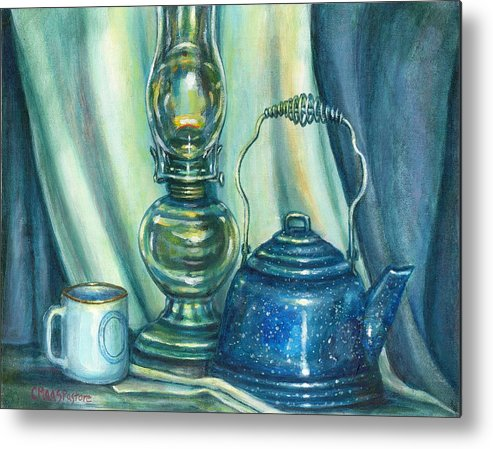 Painting Metal Print featuring the painting Still Life With Blue Tea Kettle by Colleen Maas-Pastore