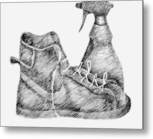 Pen Metal Print featuring the drawing Still Life With Shoe And Spray Bottle by Michelle Calkins