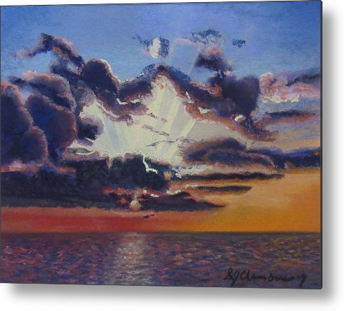 Storm At Sunset Metal Print featuring the painting Storm At Sunset by Donna Chambers