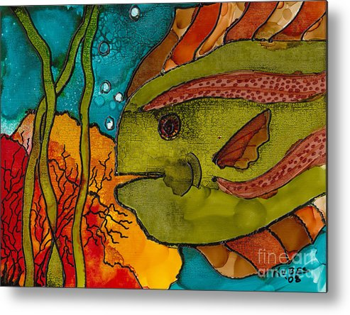 Fish Metal Print featuring the painting Striped Fish by Susan Kubes