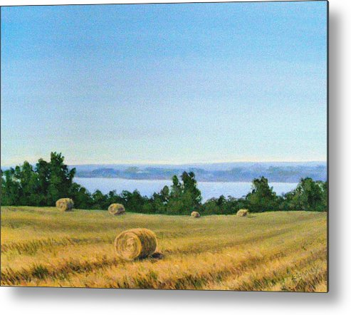 Lanscape Metal Print featuring the painting Summer At Cayuga Lake by Evelynn Eighmey