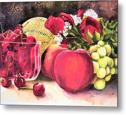 Cherries Metal Print featuring the painting Summer Bounty by Karen Stark