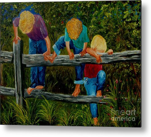 Boys Metal Print featuring the painting Summer Fun by Inna Montano