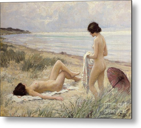 Summer On The Beach (oil On Canvas) By Paul Fischer. Sunbathing; Nude; Naked; Parasol; Beach; Coast; Female; Towel; Lesbian Metal Print featuring the painting Summer On The Beach by Paul Fischer