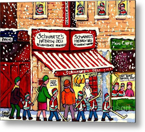 Montreal Metal Print featuring the painting Sunday Lineup At The Deli by Carole Spandau
