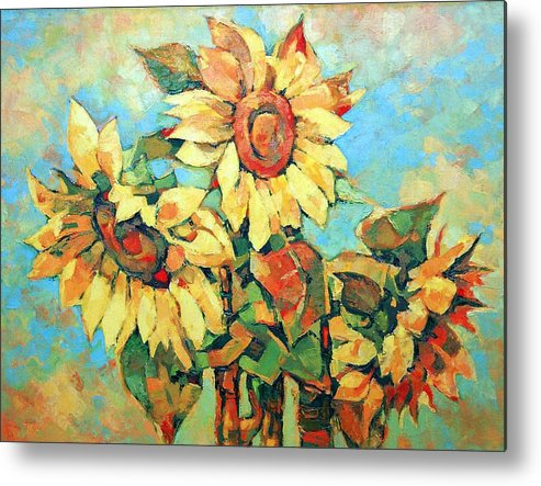 Sunflowers Metal Print featuring the painting Sunflowers by Iliyan Bozhanov