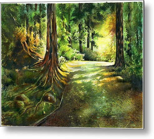 Landscape Metal Print featuring the painting Sunlight Trial Port Moody by Dumitru Barliga