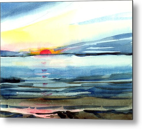 Landscape Seascape Ocean Water Watercolor Sunset Metal Print featuring the painting Sunset by Anil Nene