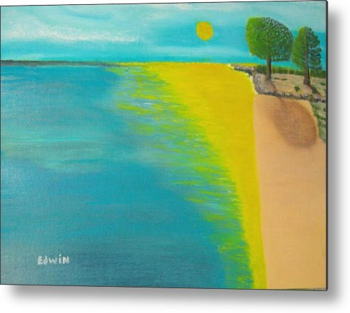 Sun Metal Print featuring the painting Sunset Beach by Edwin Long