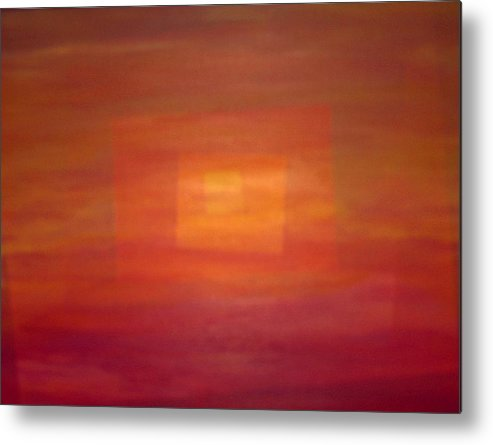 Rectangles Sunset Abstract Bright Metal Print featuring the painting Sunset For Sarah by Sally Van Driest