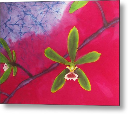 Orchid Metal Print featuring the tapestry - textile Swamp Orchi Fine Art Batik by Kay Shaffer