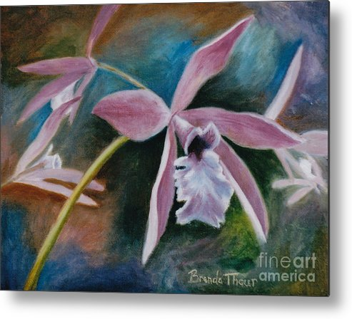 Flower Metal Print featuring the painting Sweet Orchid by Brenda Thour