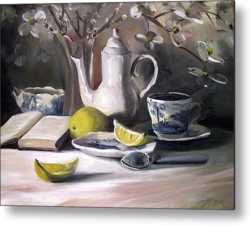 Lemon Metal Print featuring the painting Tea With Lemon by Nancy Griswold