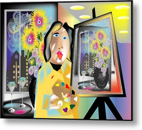 Contemporary Metal Print featuring the digital art The Artist by George Pasini