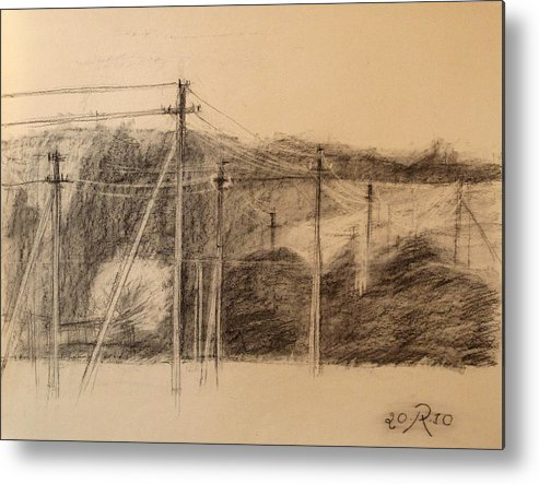 Drawing Metal Print featuring the drawing The Edge Of The Village by Raimonda Jatkeviciute-Kasparaviciene